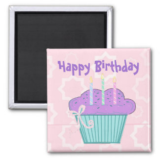Cupcake Happy Birthday 2 Inch Square Magnet
