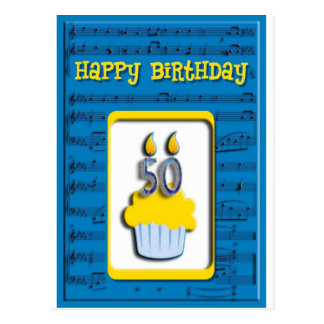 Cupcake Happy Birthday 50th Postcard