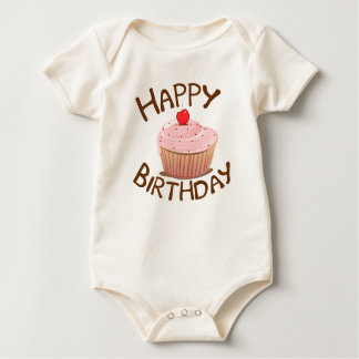 Cupcake Happy Birthday Baby Bodysuit