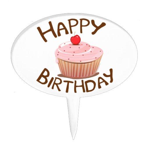Cupcake Happy Birthday Cake Topper