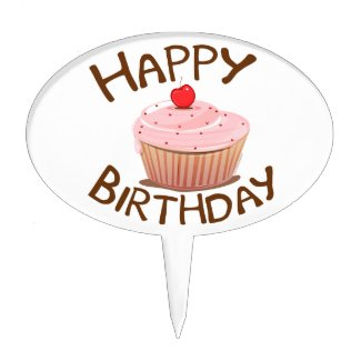 Cupcake Happy Birthday Cake Toppers