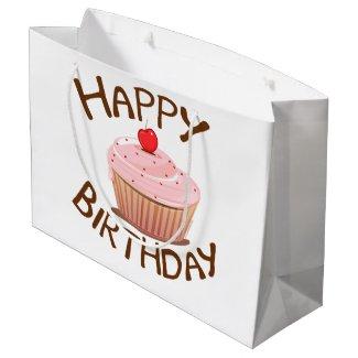 Cupcake Happy Birthday Large Gift Bag