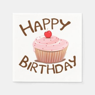 Cupcake Happy Birthday Paper Napkin