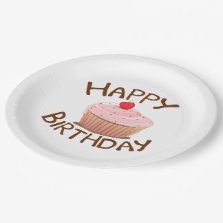 Cupcake Happy Birthday Paper Plate