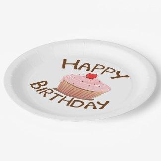Cupcake Happy Birthday Paper Plate