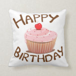Cupcake Happy Birthday Pillow
