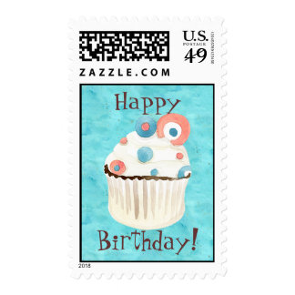 Cupcake Happy Birthday Postage, by Audrey Jeanne Stamps