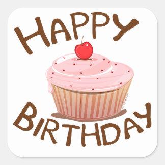 Cupcake Happy Birthday Square Sticker