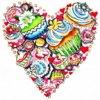 Cupcake heart key chain statuette
