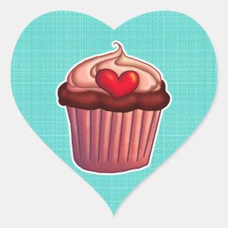 Cupcake heart shaped sticker