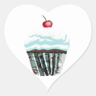 Cupcake Heart Sticker