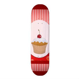 Cupcake Hearts and Stripes Skateboard Deck
