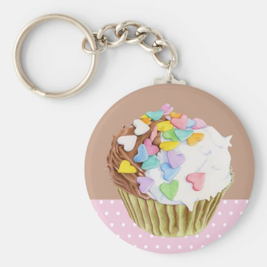 Cupcake Hearts Keychain