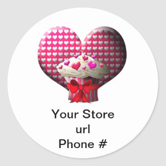 Cupcake Hearts on White Promote Your Business Classic Round Sticker