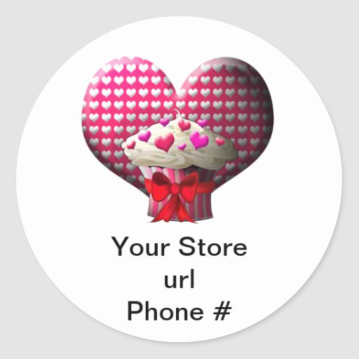 Cupcake Hearts on White Promote Your Business Round Sticker