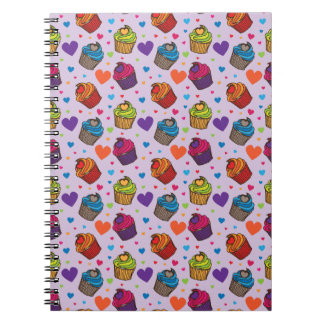 Cupcake Hearts Pattern Notebook