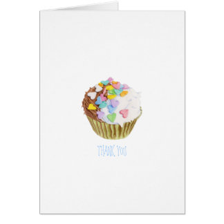 Cupcake Hearts Thank You Note Card