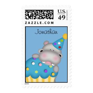 Cupcake Hippo Postage Stamp