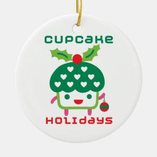 Cupcake Holidays Ceramic Ornament