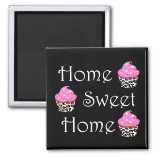 """Cupcake """"Home Sweet Home"""" 2 Inch Square Magnet"""