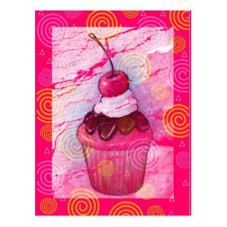 Cupcake: Hot Pink: Oil Pastel Art with Design Postcard