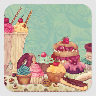 Cupcake & Ice Cream Patisserie Gift Tags Square Stickers