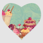 Cupcake & Ice Cream Patisserie Gift Tags Heart Sticker