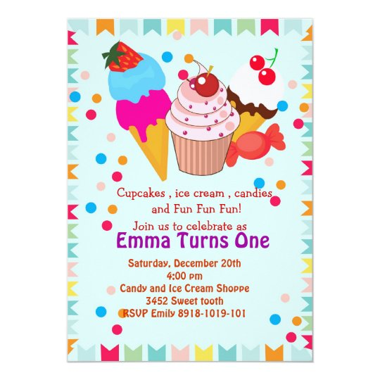 cupcake icecream candy birthday party invitation zazzle com