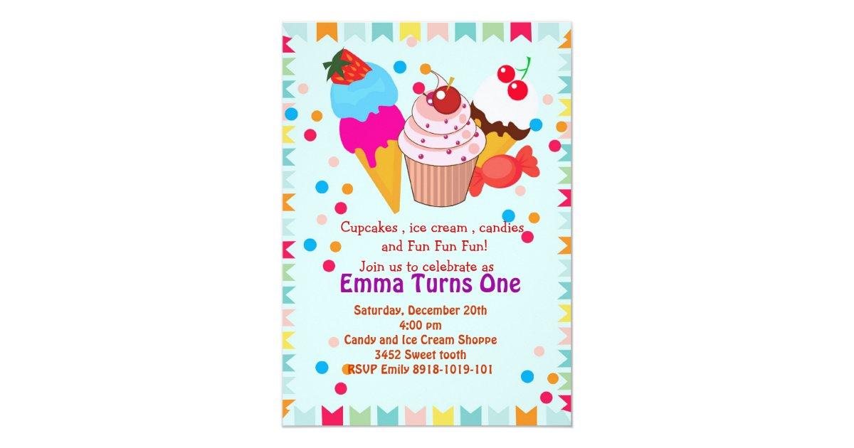 Cupcake icecream candy birthday party invitation | Zazzle.com