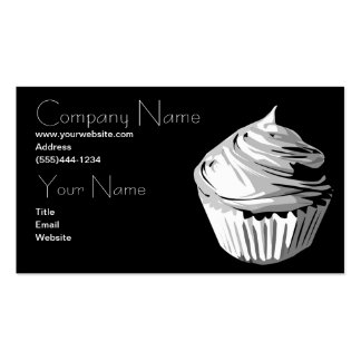 Cupcake in grays business card template