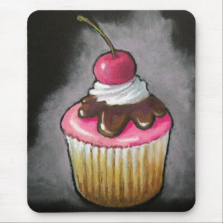 Cupcake in Oil Pastel: Pink icing, Cherry Mouse Pad