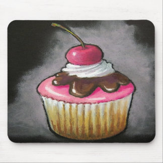Cupcake in Oil Pastel: Pink icing, Cherry Mouse Pads