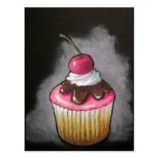 Cupcake in Oil Pastel: Pink icing, Cherry Postcard