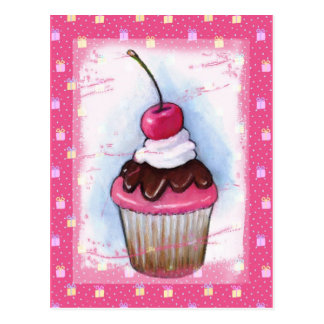Cupcake in Pastel on Pink Background Postcard