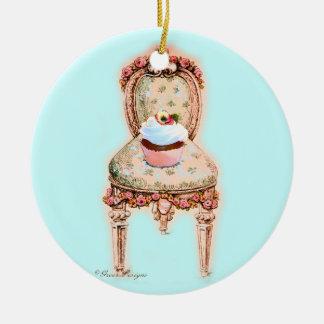 Cupcake in Victorian Chair Ceramic Ornament