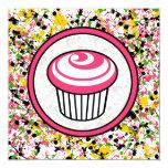 Cupcake Invitation - Multicolor Paint Splatter