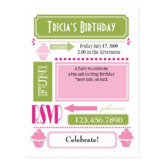 Cupcake Invite Postcard