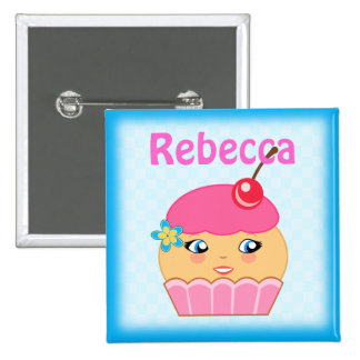 Cupcake Kawaii Pink Couture Characte Square Button