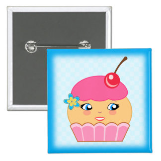 Cupcake Kawaii Pink Couture Character Square Badge Button