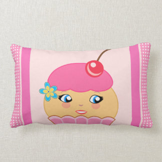 Cupcake Kawaii Pink Cute Character Lumbar Pillows