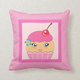 Cupcake Kawaii Pink Cute Character Square Pillow