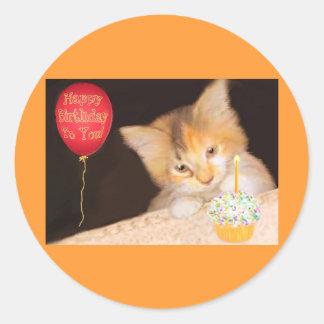 Cupcake Kitten Round Sticker