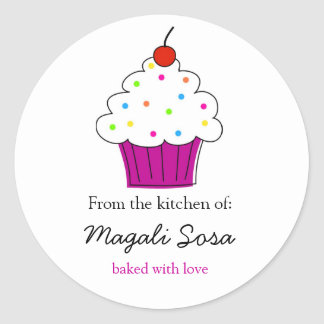 Cupcake labels, From the Kitchen Of... Classic Round Sticker