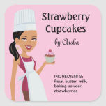Cupcake Labels with Character Design #1 Square Sticker