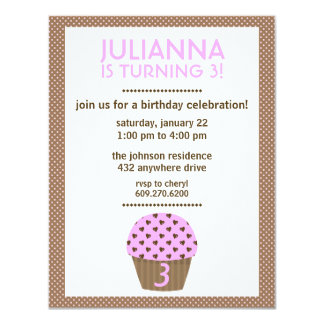 Cupcake Love (Brown) | Girl's Birthday Invitation