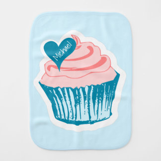 Cupcake Love custom name burp cloth