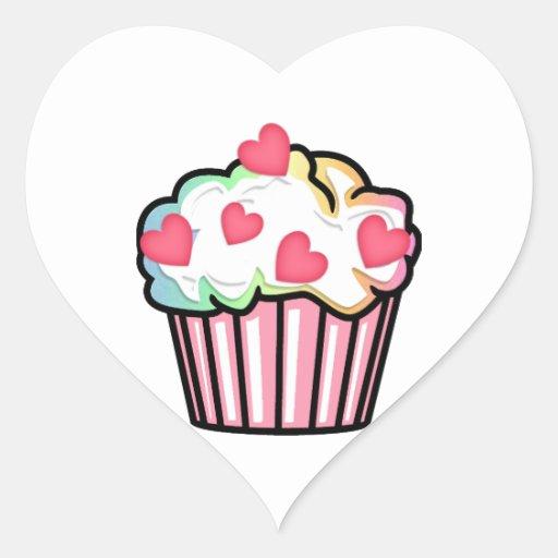 Cupcake Love Heart Sticker