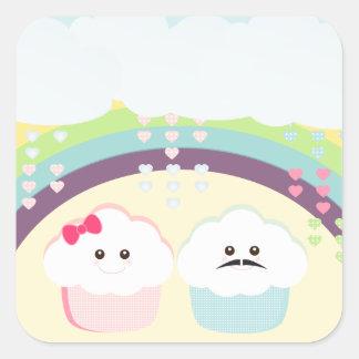 Cupcake Love Kawaii Square Sticker