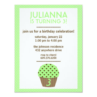 Cupcake Love (Mint) | Girl's Birthday Invitation