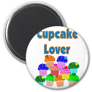 """""""Cupcake Lover""""---Mound of Bright colored cupcakes 2 Inch Round Magnet"""